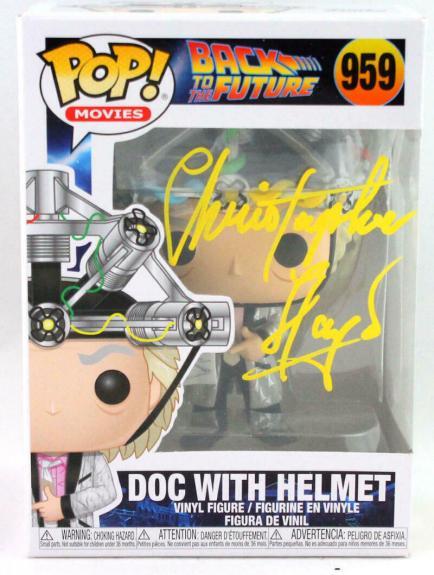 Christopher Lloyd Autographed Doc w/ Helmet Funko Pop Figurine #959- JSA W *Y