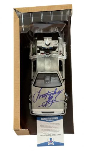 "Christopher Lloyd ""bttf"" Autograph Signed Delorean 1:24 Diecast Car Beckett 1"