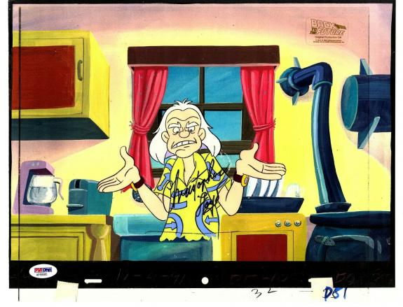 """CHRISTOPHER LLOYD Signed """"BACK TO THE FUTURE"""" Cartoon Animation Cel PSA/DNA"""