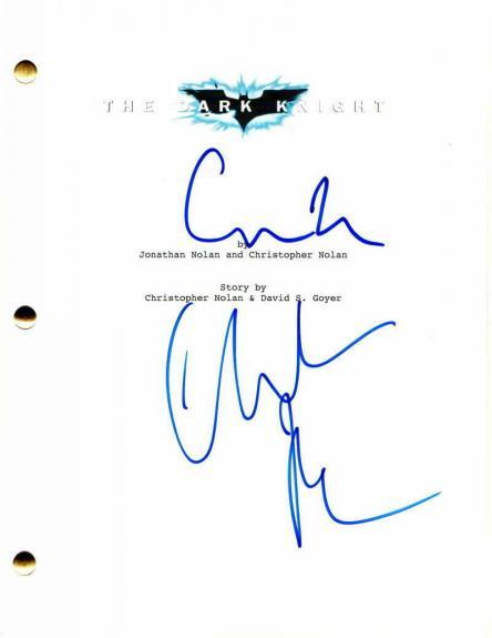 Christopher Nolan Christian Bale Signed Autograph - The Dark Knight Movie Script