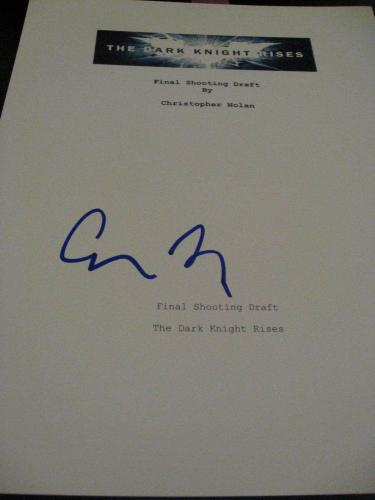 Christopher Nolan Signed Autograph Dark Knight Rises Movie Script Full Script