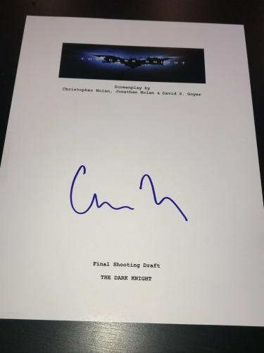 Christopher Nolan Signed Autograph Movie Script Dark Knight Batman Beckett Bas