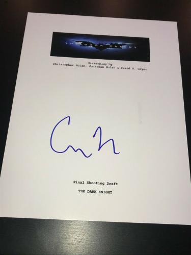 Christopher Nolan Signed Autograph Movie Script Dark Knight Batman Beckett Bas M
