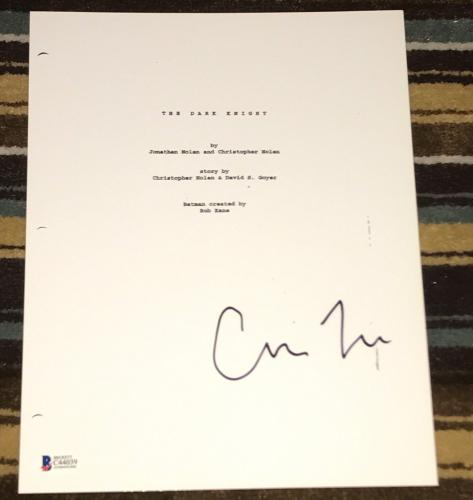 "Christopher Nolan Signed Autograph ""the Dark Knight"" Full Movie Script Beckett"