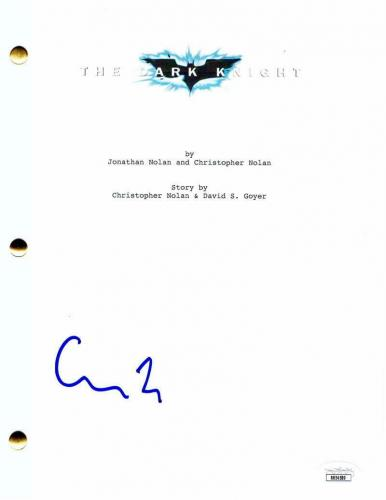 Christopher Nolan Signed Autograph The Dark Knight Movie Script - Christian Bale