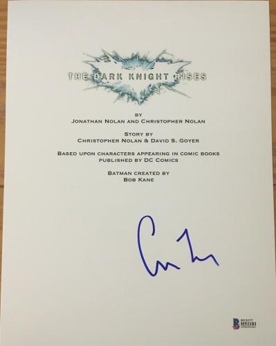"Christopher Nolan Signed Autograph ""the Dark Knight Rises"" Movie Script Beckett"