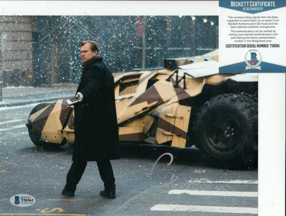 CHRISTOPHER NOLAN signed (BATMAN DARK KNIGHT) Director 8X10 BECKETT BAS T56561