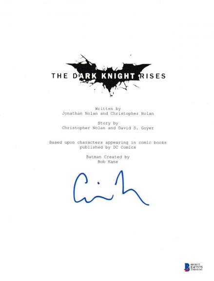 Christopher Nolan Signed Dark Knight Rises Script Beckett Bas Autograph Auto Coa