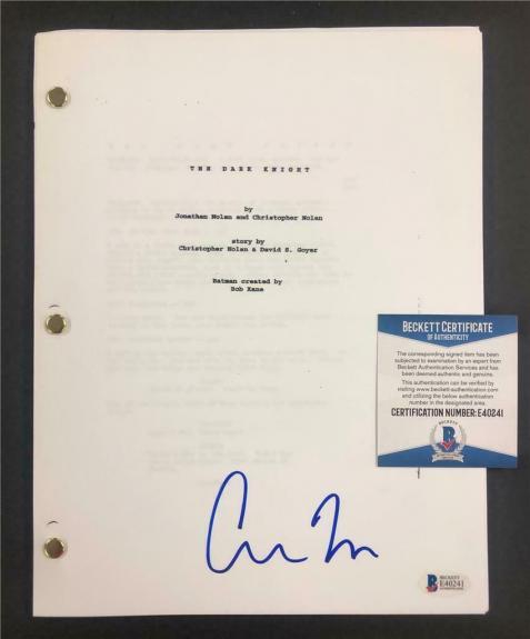 CHRISTOPHER NOLAN signed THE DARK KNIGHT full Movie Script ~ Beckett BAS COA
