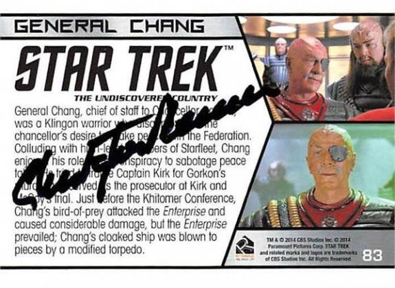 Christopher Plummer autographed trading card Star Trek 2014 #83B General Chang