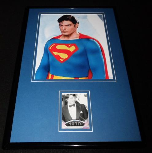 Christopher Reeve 11x17 Framed ORIGINAL Topps Card & Superman Photo Display