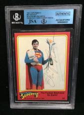Christopher Reeve Signed 1981 Superman Ii Card Autograph Jsa/bvs Bgs