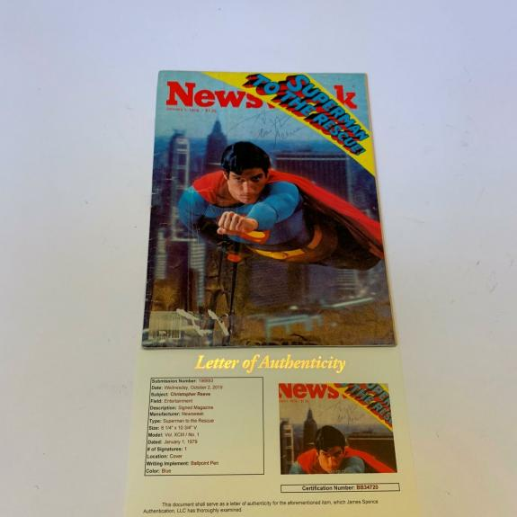 Christopher Reeve Signed Autographed 1979 Superman Newsweek Magazine JSA COA