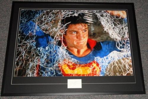 Christopher Reeve Signed Framed 31x41 Superman Poster Display JSA