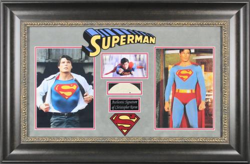 Christopher Reeve Superman Signed 1.25x4.25 Framed Cut Signature BAS #A72284