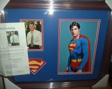 Christopher Reeve Superman Signed Autographed Double Matted & Framed Jsa Loa B