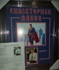 Christopher Reeve Superman Signed Autographed Double Matted & Framed Jsa Loa F