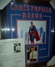 Christopher Reeve Superman Signed Autographed Double Matted & Framed Jsa Loa G