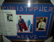 Christopher Reeve Superman Signed Autographed Double Matted & Framed Jsa Loa I