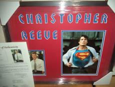 Christopher Reeve Superman Signed Autographed Double Matted & Framed Jsa Loa J
