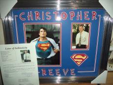 Christopher Reeve Superman Signed Autographed Double Matted & Framed Jsa Loa N