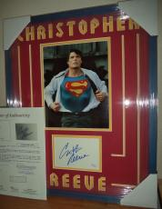 Christopher Reeve Superman Signed Autographed Double Matted & Framed Jsa Loa R