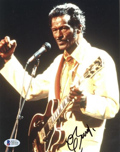 """Chuck Berry Autographed 8"""" x 10"""" Fist Clinched Photograph - Beckett COA"""