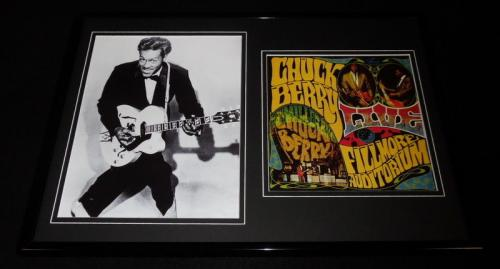 Chuck Berry Framed 12x18 Photo & Live Fillmore Auditorium Cover Display
