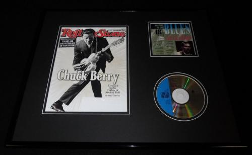 Chuck Berry Framed 16x20 CD & 2017 Rolling Stone Cover Display