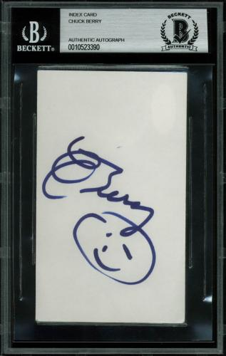 Chuck Berry Signed 3x5 Index Card Autographed BAS Slabbed
