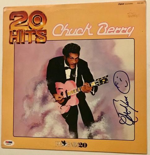 Chuck Berry signed album 20 hits psa dna coa full signature autographed lp