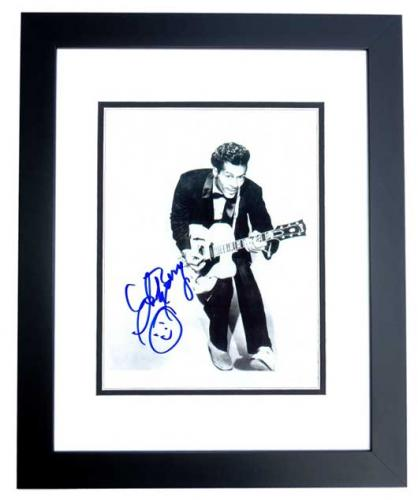 Chuck Berry Signed - Autographed Legendary Singer 8x10 inch Photo - BLACK CUSTOM FRAME - Deceased 2017 - Guaranteed to pass PSA or JSA