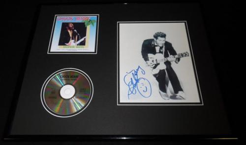 Chuck Berry Signed Framed 16x20 Super Hits CD & Photo Set
