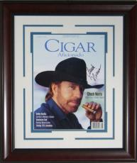 Chuck Norris Signed Cigar Aficionado Framed Display