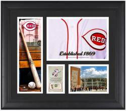 Cincinnati Reds Team Logo Framed 15'' x 17'' Collage with Piece of Game-Used Ball - Mounted Memories