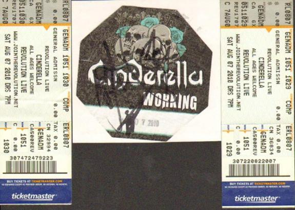 Cinderella Autographed Backstage Pass Signed UACC RD COA AFTAL