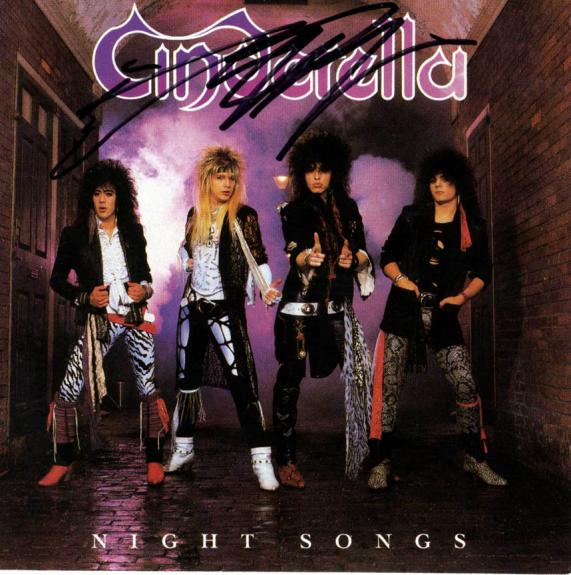 Cinderella Autographed Night Songs Signed CD Cover UACC RD COA AFTAL