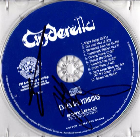 Cinderella Autographed Signed Extended Versions CD UACC RD COA AFTAL
