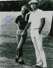 Cindy Morgan Signed Caddyshack B&W 16x20 Photo With Chevy Chase w/Lacey Underall