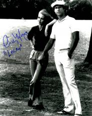 Cindy Morgan Signed Caddyshack B&W Standing With Chevy Chase 8x10 Photo w/Lacey