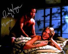 Cindy Morgan Signed Caddyshack On Bed With Chevy Chase 8x10 Photo w/Lacey