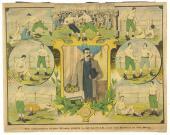 1890's, John L. Sullivan Original Color Poster/Sign of His Battles in the Ring