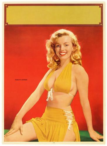"Circa 1950's Marilyn Monroe ""Yellow Bikini"" Original Pin Up Litho Poster 16 x 20"