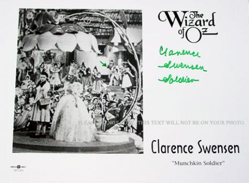 Clarence Swenson Signed Wizard of Oz Munchkin Autographed Photo AFTAL