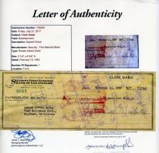 Clark Gable Jsa Cert Hand Signed 1950 Check Authentic Autograph
