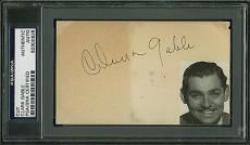 Clark Gable Signed 3x5 Cut Autograph w/ Photo PSA/DNA Slabbed