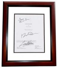 Clash of the Titans Autographed Script by Sam Worthington, Liam Neeson, and Ralph Fiennes  MAHOGANY CUSTOM FRAME