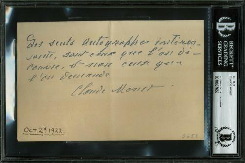 Claude Monet Signed 4.5x6.75 1922 Handwritten Letter BAS Slabbed