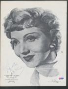 Claudette Colbert Signed 8.25x10.5 Sketch Photo PSA/DNA Auto Autograph W30719