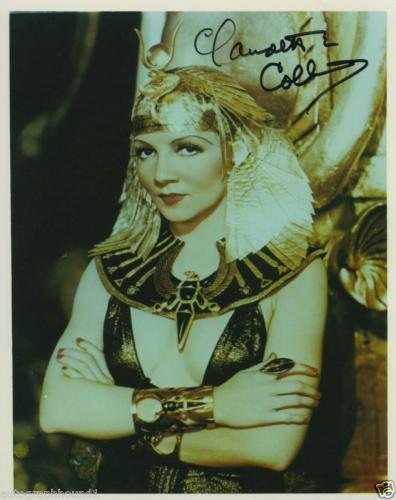 Claudette Colbert Signed Color Cleopatra Photo Rare!!!